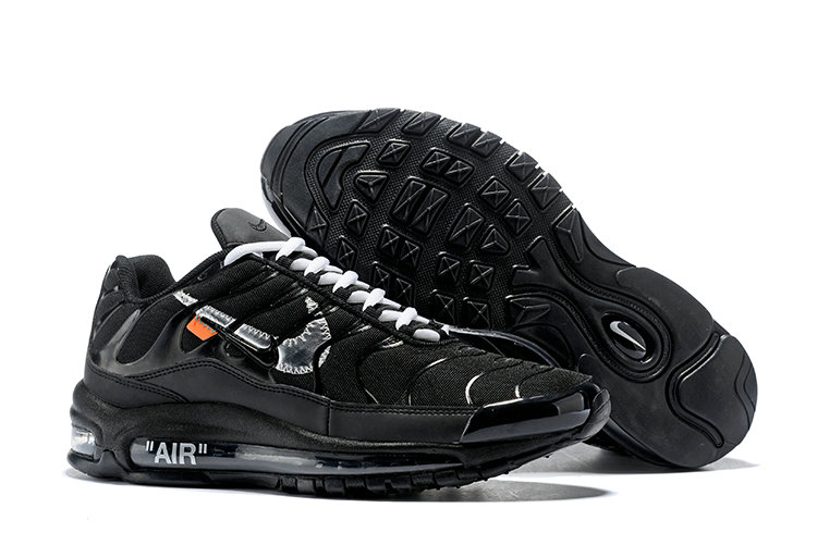 Womens Wholesale Nike OFF-WHITE Air Max 97 Black White Silver- www.wholesaleflyknit.com