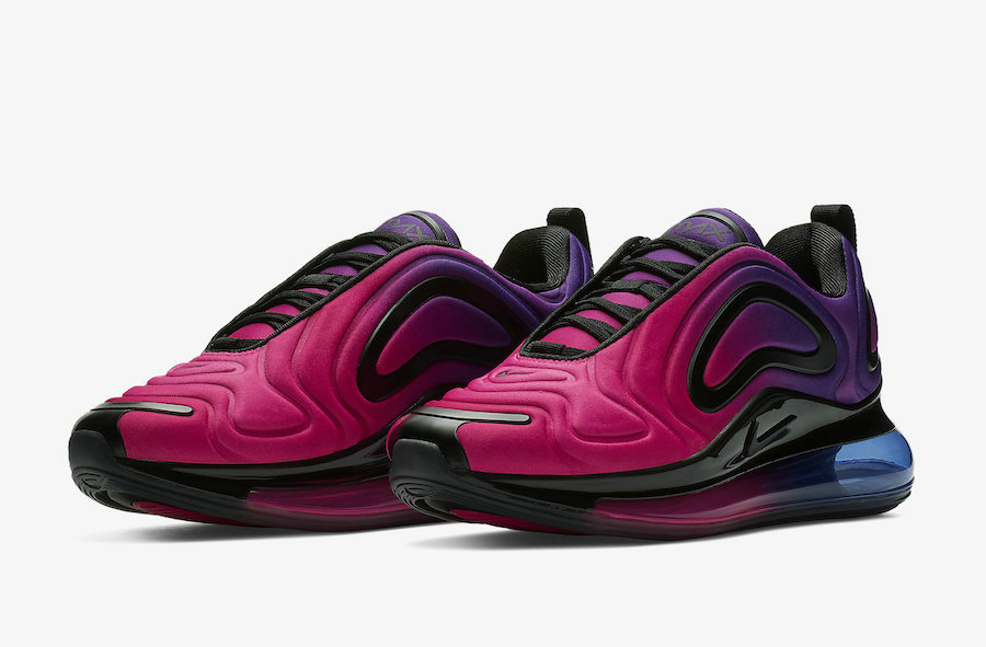 Wholesale Womens Nikes Air Max 720 Sunset Hyper Grape Black-Hyper Pink AR9293-500-www.wholesaleflyknit.com