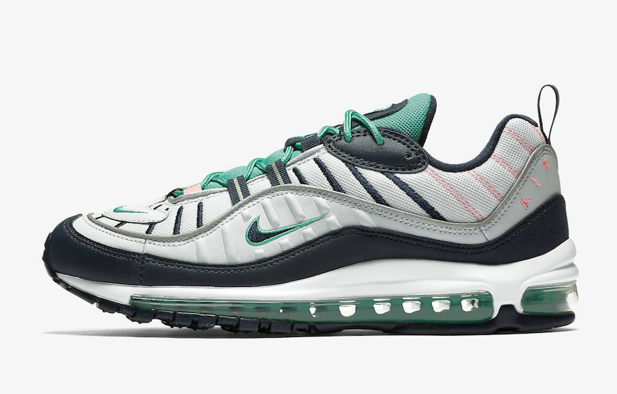 Wholesale Womens Nikes Air Max 98 South Beach 640744-005 Pure Platinum Obsidian-Kinetic Green-www.wholesaleflyknit.com