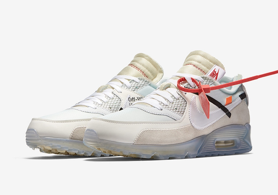 Womens OFF-WHITE x Nike Air Max 90 Sail White-MuslinAA7293-100 - www.wholesaleflyknit.com