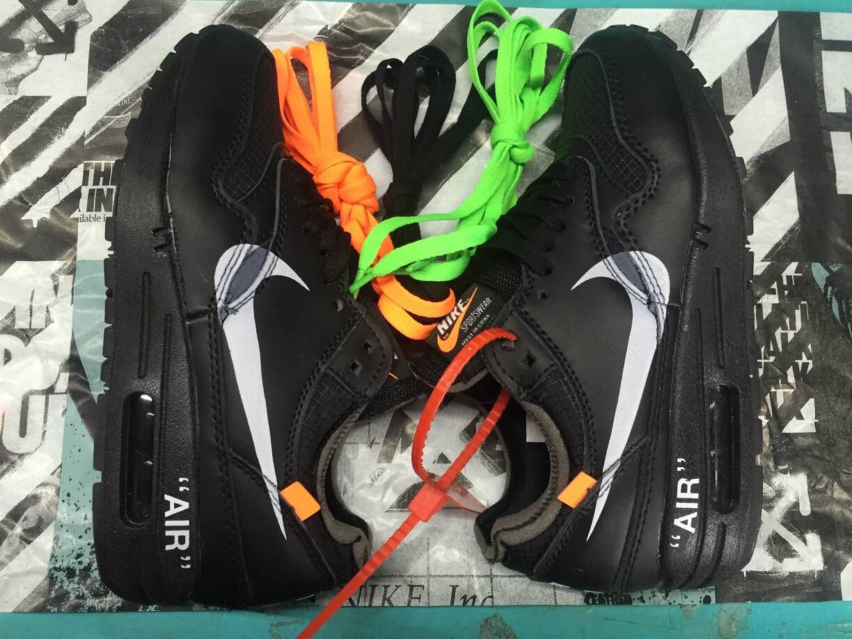 Womens Off-White x Nike Air Max 87 1 All Black White - www.wholesaleflyknit.com