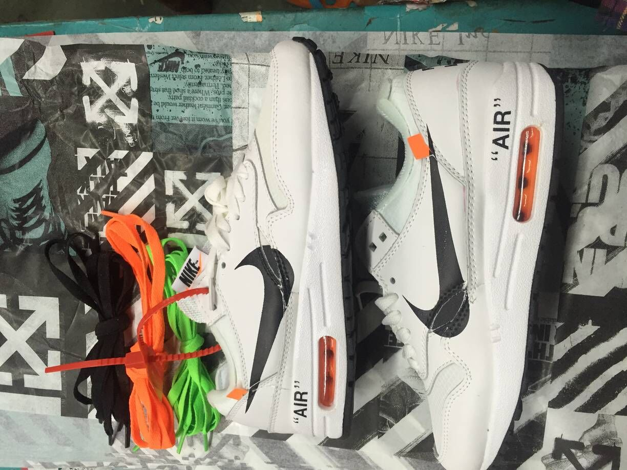 Womens Off-White x Nike Air Max 87 1 White Black Team Orange - www.wholesaleflyknit.com
