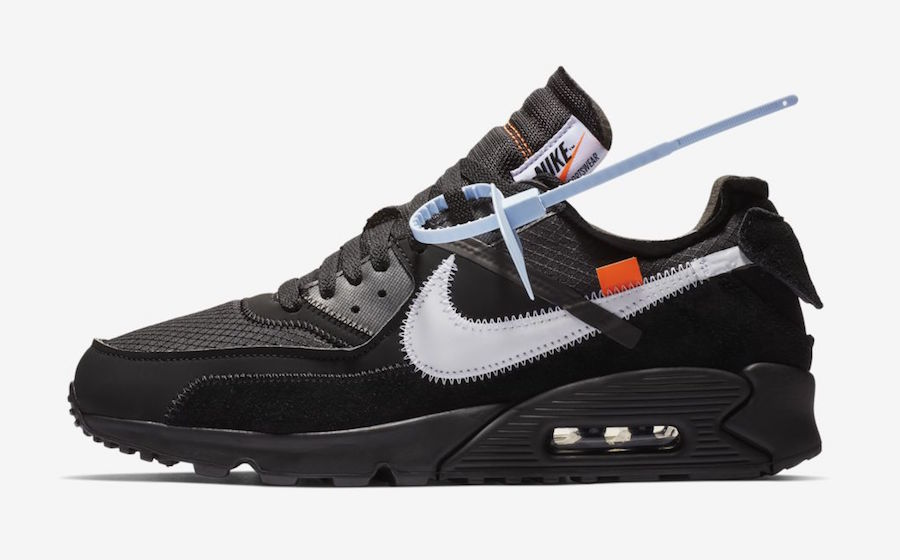Womens Off-White x Nike Air Max 90 Black-Cone-White-Black AA7293-001 - www.wholesaleflyknit.com