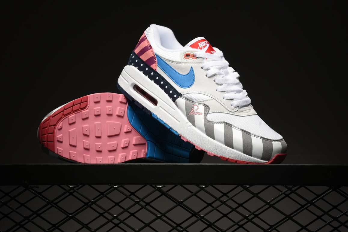 Womens Piet Parra x Wholesale Nike Air Max 1 White Multi White Pink Blue- www.wholesaleflyknit.com