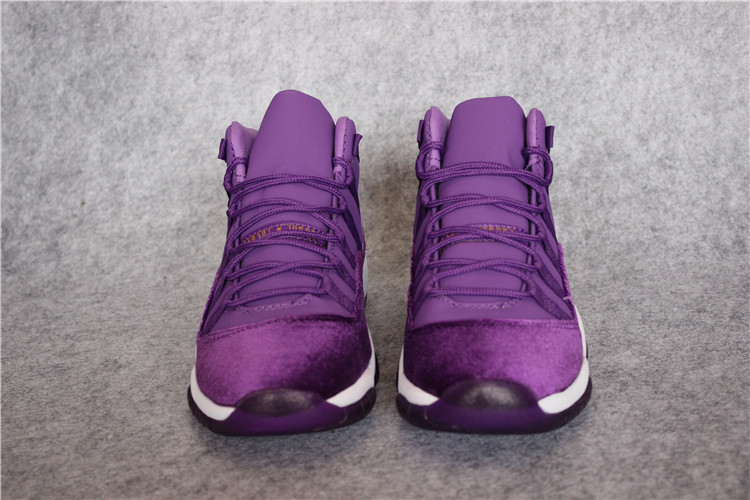 d7d380aa95f2 Wholesale Cheap 2017 Air Jordan 11 Grape Velvet Purple White Gold For Sale  - www.