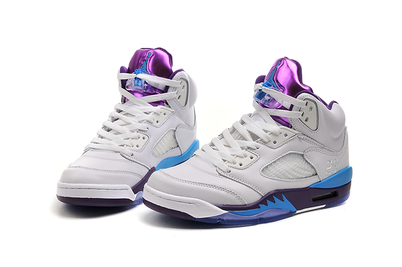 Wholesale Cheap 2017 Girls Air Jordans 5 Hornets White Blue Purple For Sale - www.wholesaleflyknit.com