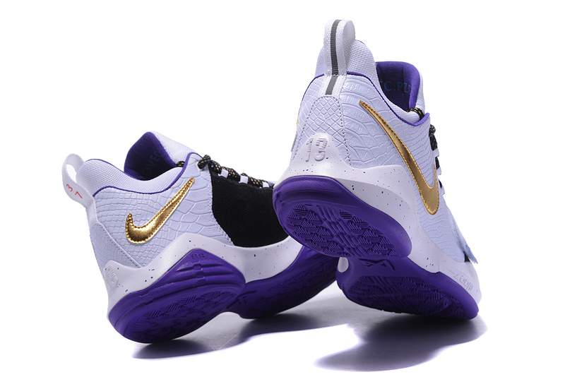 Wholesale Cheap 2017 Nike Zoom PG 1 White Black Purple Gold For Sale - www.wholesaleflyknit.com
