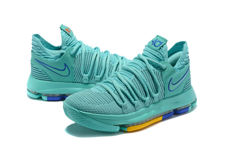 f45c18826b03 2018 Cheapest Wholesale Nike Kevin Durant 10 X Jade Blue Yellow -  www.wholesaleflyknit.