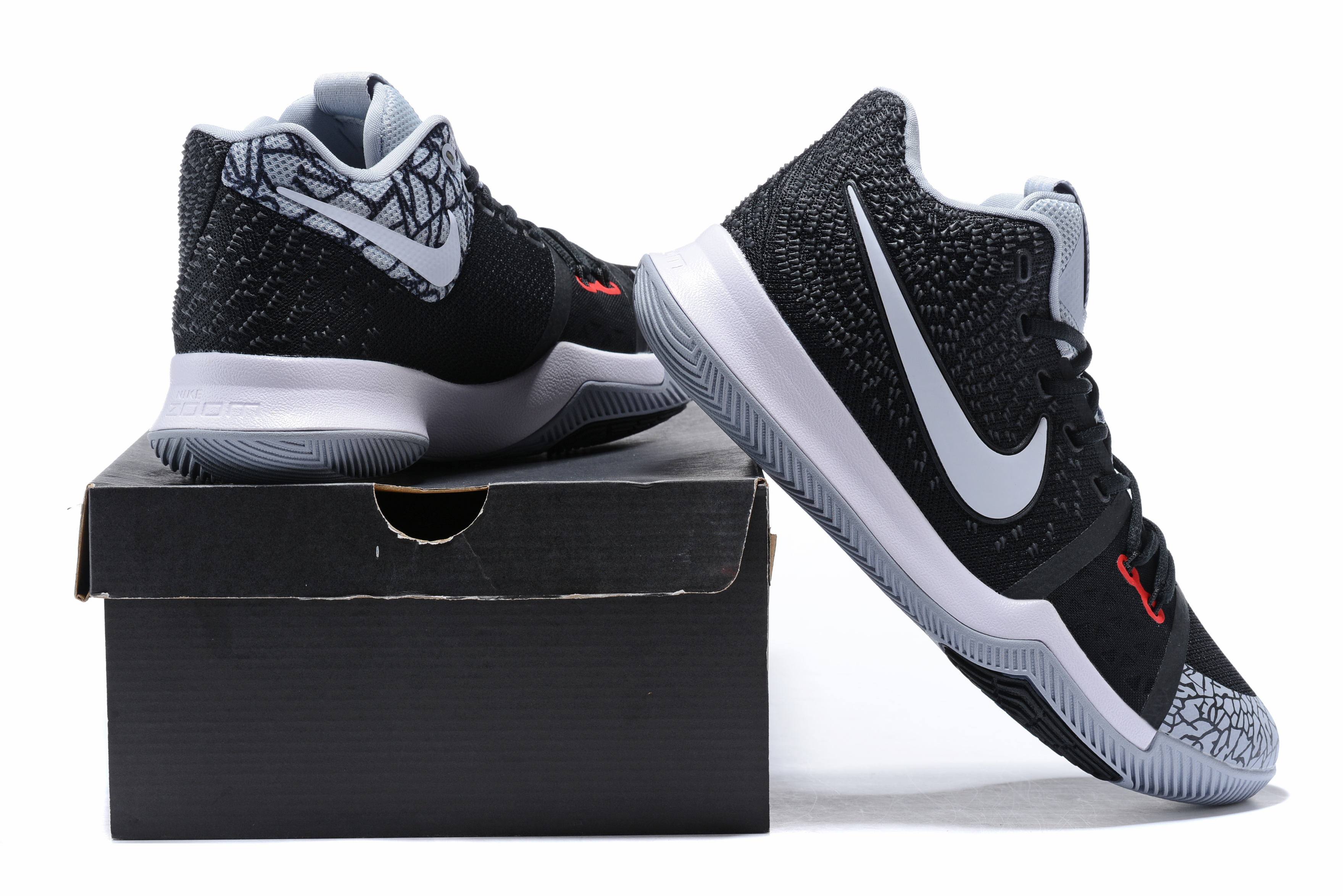 brand new 18fcc ed2ca Wholesale Cheap 2018 Nike Kyrie 3 Black Elephant Print Black Cement For  Sale - www.
