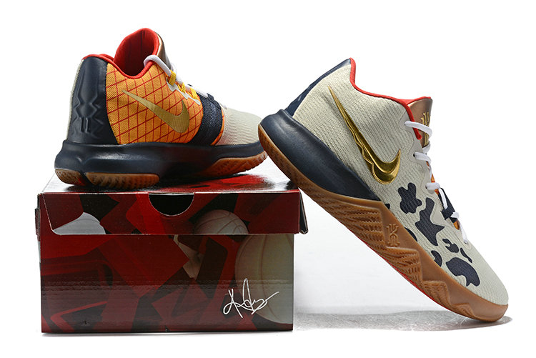 257a0024a5ef ... 2018 Cheapest Wholesale Nike Kyrie Irving Flytrap Gold Cream Red Navy  Blue - www.wholesaleflyknit