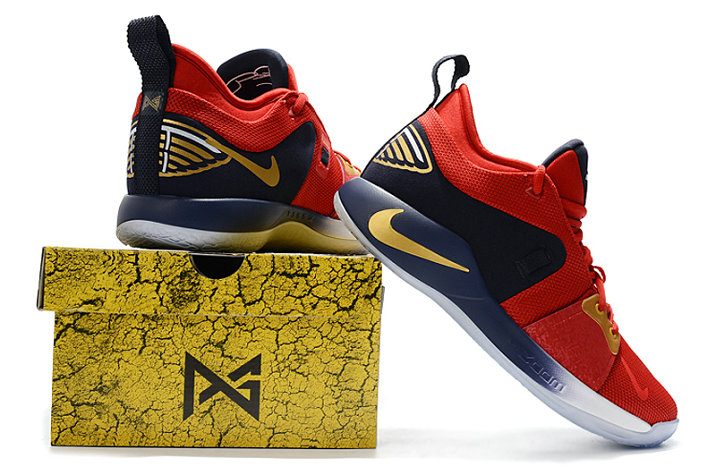 bfabff6c665f ... 2018 Wholesale Cheap Nike PG 2 Paul George Red Gold White Black -  www.wholesaleflyknit