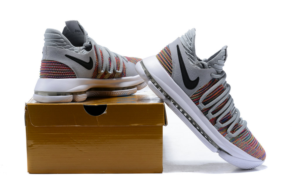 the latest fca29 e7648 ... 2018 Nike Kevin Durant x Cheap Nike KD 10 Multi-Color Black-Cool Grey