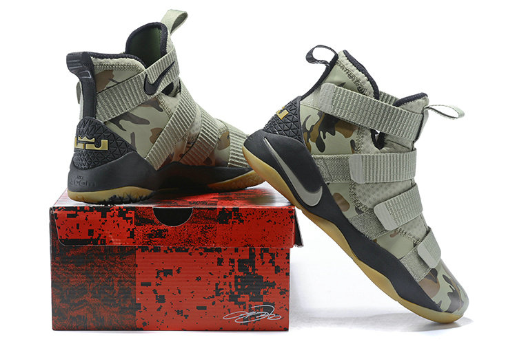 d62e17ddfc8 ... 2018 Nike Lebron Soldier 11 XI Gold Army Green Cheapest Wholesale Sale  - www.wholesaleflyknit