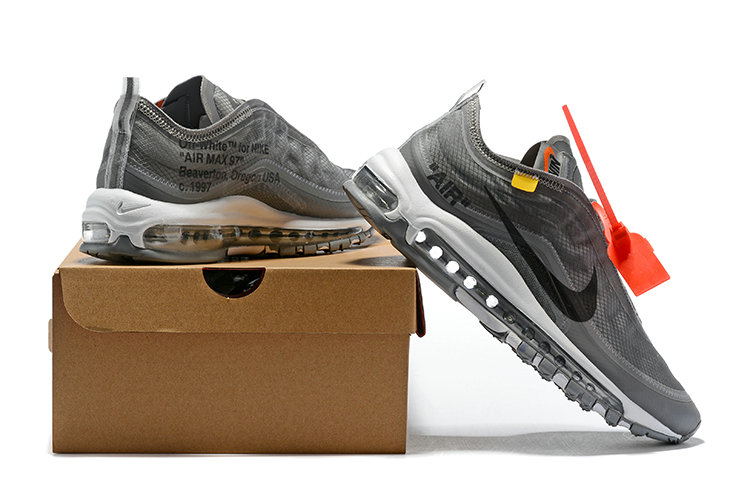 e59f2cdc37 ... 2018 Nike OFF-WHITE Air Max 97 SneakerBoots Wolf Grey Black Cheapest  Wholesale Sale -