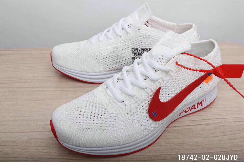 f104f28691148 ... 2018 Womens Nike The 10 OFF-WHITE Nike Flyknit Racer White University  Red Cheapest Wholesale ...
