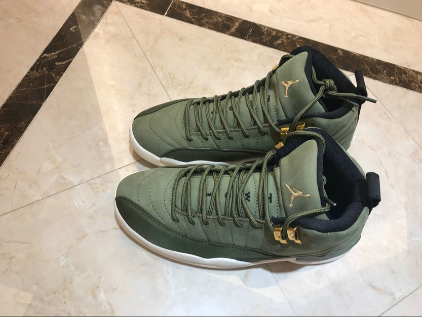 ... Air Jordan 12 Retro Olive Canvas Metallic Gold On www.wholesaleoffwhite. com ... a7842dd03