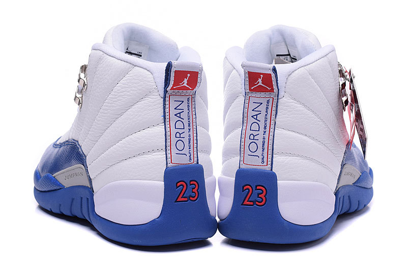 f5c1dc0d66067 ... Wholesale Cheap Air Jordans 12 Retro French Blue White French  Blue-Metallic Silver-Varsity ...