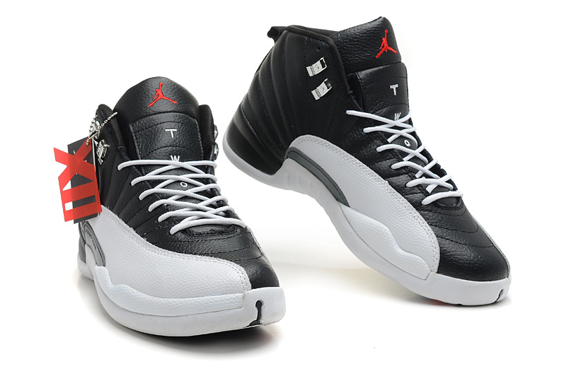 new products a1e71 ac713 ... Wholesale Cheap Air Jordans 12 Retro Playoffs Black White -Varsity Red  For Sale - www ...