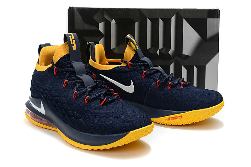 0ed71488ad ... Wholesale Cheap Lebrons Nike Lebron 15 Low Navy Blue Yellow White Red -  www.wholesaleflyknit ...