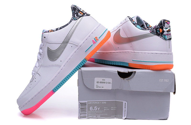 Wholesale Cheap Nike Air Force 1 Low White Grey Pink Blue Orange - www.wholesaleflyknit.com