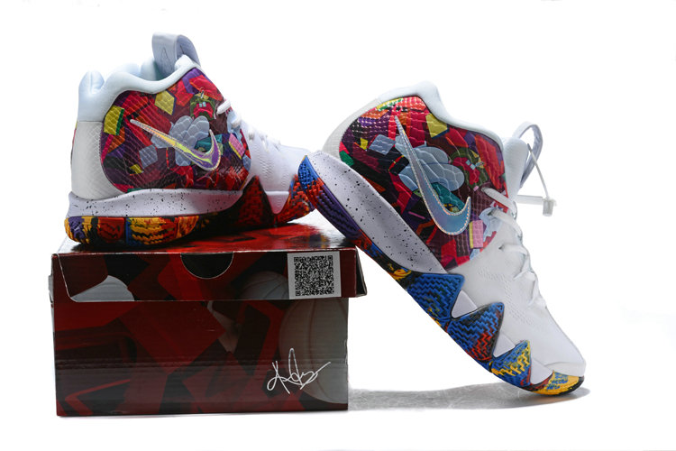 2cd00218611 ... Cheap Wholesale Nike Kyrie 4 Irving Basketball Shoes White Flower-  www.wholesaleflyknit.com