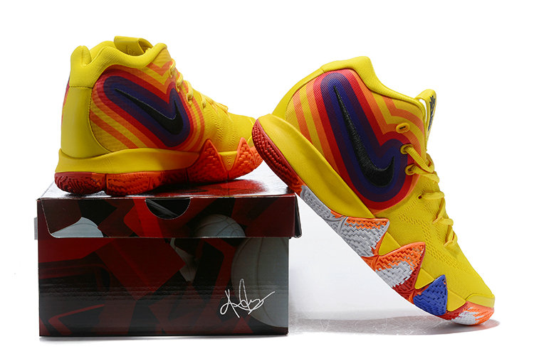 free shipping d0ea3 888eb ... Cheap Wholesale Nike Kyrie 4 Irving Basketball Shoes Yellow White Black  Orange Red Blue- www
