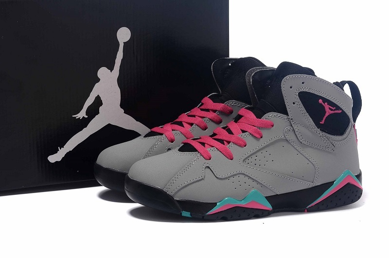 cf5bf49684f ... Wholesale Cheap Girls Air Jordan 7 Miami Vice Custom Wolf Grey Pink  Flash-Mint Green ...