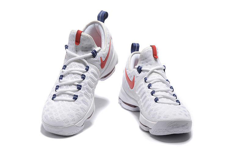 Wholesale Cheap KD 9 USA White University Red-Race Blue 2016 For Sale - www.wholesaleflyknit.com