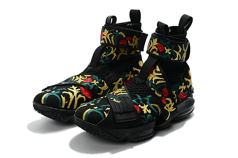 fc3c496978f ... Cheap Wholesale KITH x Nike LeBron 15 Lifestyle Kings Crown Black Gold  Floral Mens Basketball Shoes ...