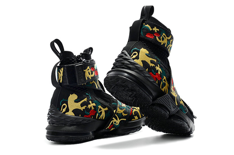 f3cd3b9af17 ... Cheap Wholesale KITH x Nike LeBron 15 Lifestyle Kings Crown Black Gold  Floral Mens Basketball Shoes