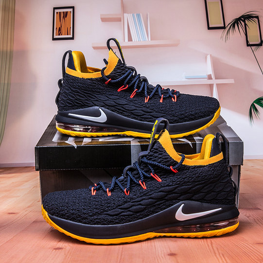 new concept 00a15 d2456 Wholesale Nike Lebron James 15 Low Cheap Yellow Navy Blue On ...