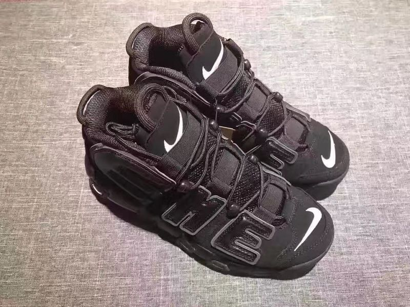 Wholesale Cheap Supreme x Nike Air More Uptempo Black White 2017 For Sale - www.wholesaleflyknit.com